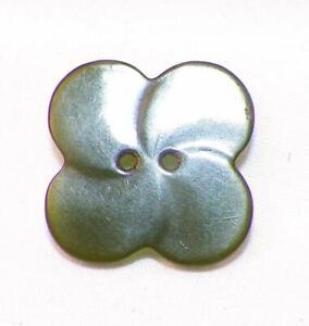 Vintage Spinach Green Bakelite Button 4 Leaf Clover 2 Sew Thru Holes #11