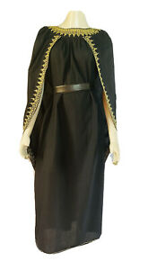 Moroccan Dress Sith Cape Dress Solid Black With Embroidered Gold Trim ODFM