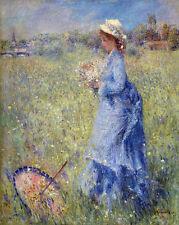 Renoir Woman In Blue Dress Field Of Flowers Painting 8x10 Real Canvas Art Print