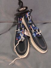 Rue 21 Carbon Brand Navy Blue Tropical Print Fabric Boat Shoes Size 9 New!  #2