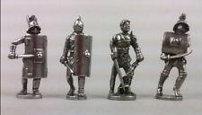 Quattro figure di Gladiatore romano in Peltro fine