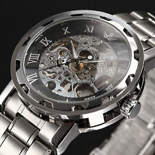 SEWOR Classic Mens Skeleton Mechanical Wrist Watch Silver Stainless Steel Band