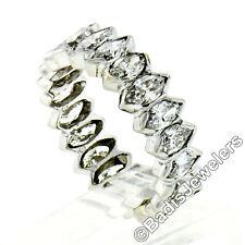 Vintage Platinum 3.08ctw Half Bezel Set Marquise Cut Diamond Eternity Band Ring