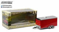1:64 GreenLight *Hitch & Tow* Red = Enclosed Car Trailer Tandem Axle *Nib*