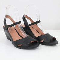 Miz Mooz Wedge Sandals Womens 7 / 37.5 Black Leather Cosette