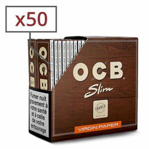 Boite 50 Paquets Carnets de Feuille OCB SLIM VIRGIN NON BLANCHIE Marron norme FR