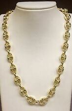 """14k Yellow Gold Men's Puffed Anchor Mariner 18"""" chain/necklace 11 MM 22 grams"""