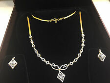 Pave 2.35 Cts Round Brilliant Cut Diamonds Necklace Earrings Set In 14Karat Gold