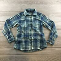 The North Face Women's Blue Plaid Shirt Size Small Button Up Long Sleeve Flannel