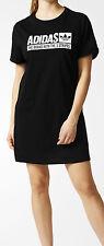 SIZE 10 SMALL - ADIDAS ORIGINALS TEE SHIRT WOMENS DRESS - BLACK
