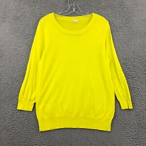 J.Crew Sweater L Large Neon Yellow 3/4 Sleeve Scoop Neck Knit Pullover Womens