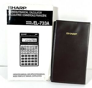 Sharp Calculator EL-733A w/Cover & Manual Vtg - Tested Business Financial