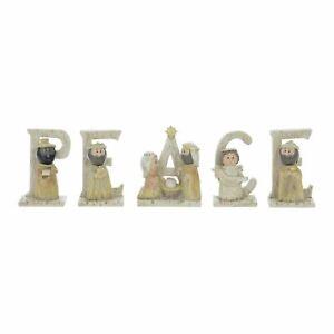 PEACE Nativity Scene Figures Set Christmas Xmas Modern Festive Crimbo Decoration