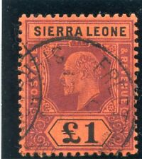 Sierra Leone 1911 KEVII £1 purple & black/red very fine used. SG 111. Sc 102.