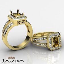 Emerald SemiMount Diamond Engagement Pave Ring 18k Yellow Gold Split Shank 0.6Ct