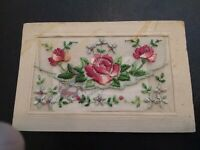 "LOVELY VINTAGE Silk Embroidered Postcard ""Greetings From France"""