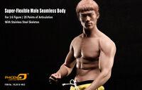 Bruce Lee Phicen PL2016-M32 Male Muscular Body Steel Skeleton In Stock