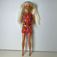 Vintage 90's Barbie Colorful Hippie Dress Twist N Turn Platinum Hair Mattel