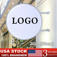 """20"""" Round LED Outdoor Advertising Projecting Light Box Sign Illuminated Sign USA"""