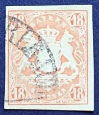 1867 BAVARIA 18C IMPERF STAMP USED WITH GREAT MARGINS ON ALL 4 SIDES