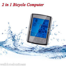 2 in 1 Water Resistant Wireless LCD Backlight Bicycle Computer Cadence Odometer