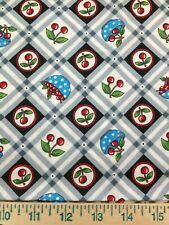 "Mary Engelbreit Cherries Dots Red Green Blue Black Fabric 24"" Sew Quilt Cotton c"