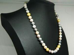 """Multi Color Pastel Cultured Pearl Strand Handknotted Silver Tone Necklace 20"""""""