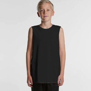 Kids Muscle Tank Top Singlet T-shirt - PLAIN BLANK Raw Edge DEEP Cut Gym
