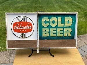 Vintage 1960's Schaefer Cold Beer Fluorescent Lighted Sign Hanover - Works