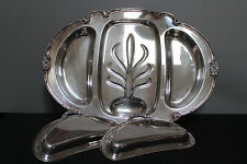 Vintage Remembrance Wm Rogers & Son Silver Plated Meat Tray with Well Covers