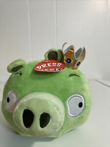 """Angry Birds King Pig Green Piggie 5"""" Plush Stuffed Animal Doll with Sound"""