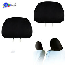SOLID BLACK CLOTH CAR HEADREST COVERS WITH FOAM BACKING SET OF 2 FOR MAZDA