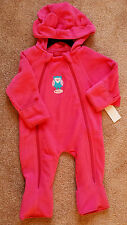 "NWT Girl's Size 6-9 M Months Pink Platinum Fleece ""Owl Keep U Warm"" Bunting"