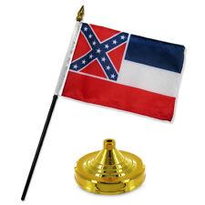 """Mississippi State Flag 4""""x6"""" Desk Set Table Stick Gold Base"""