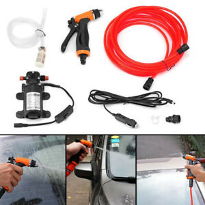 Portable 12V High Pressure Car Washer Water Pump Jet Wash Cleaner Hose Van Kit