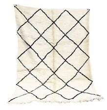Vintage RUG  authentic Beni Ourain knotted carpet 100% Handmade 5.7ft x 7.9ft