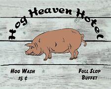 METAL MAGNET Image Of Hog Heaven Hotel Full Slop Buffet Pig Humor MAGNET