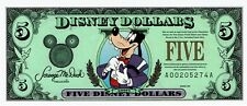 Disney Dollars 1997 $5 Five Dollar Goofy Top Hat 25th Anniversary Uncirculated
