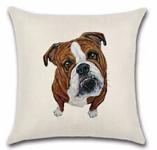 BRITISH BULL TERRIER DOG English New LINEN-COTTON Canvas CUSHION COVER. UK Sale