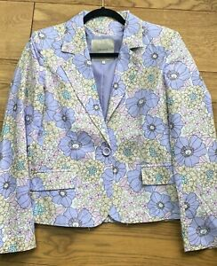 PRETTY LILAC  FLORAL STYLE PRINT  LINEN / COTTON JACKET BY  FRANSA L - 12-14
