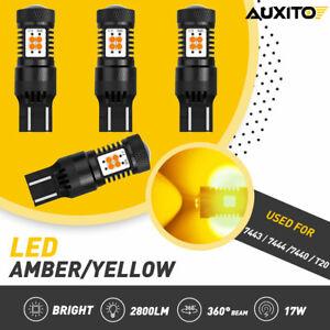 4x 7443 7440 LED Amber Yellow Turn Signal Blinker Parking Light DRL Reverse Bulb