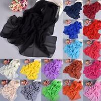 Fashion Ladies Long Soft Wrap Womens Shawl Chiffon Silk like Scarf Scarves New