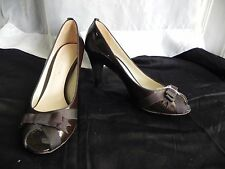 Women's Antonio Melani Solid Dark Brown Patent Leather Bow Peep Toe Pumps - 10