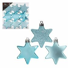Snow White Shatterproof Christmas Tree Decoration - 9 Pack 60mm Stars Ice Blue