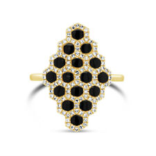 1.15 TCW 14K Yellow Gold Natural Diamond Real Black Onyx Honeycomb Cocktail Ring