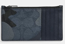 Coach Men's Zip Card Case Signature Ink Camo Blue Multi - F78034 - Retails $98