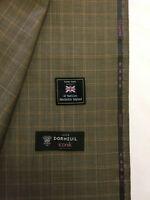 "DORMEUIL ""Iconik"" Brown Check/Plaid Super 120's Pure Merino Wool Suit Fabric"