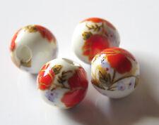 30pcs 10mm Round Porcelain/Ceramic Beads - White / Bright Red Flowers