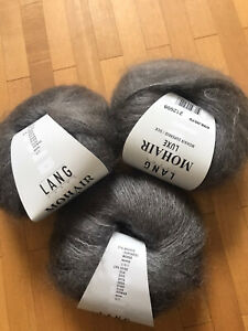 3 Knäuel Lang Yarns Mohair Luxe (Fb.070/Anthrazit)