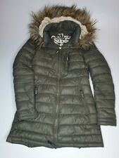 SUPERDRY JACKET WOMENS XXS WINTER LONG with HOOD and POCKET KHAKI